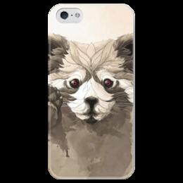"""Чехол для iPhone 5 глянцевый, с полной запечаткой """"Малая панда"""" - арт, панда, красная панда, panda"""