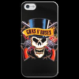 """Чехол для iPhone 5 глянцевый, с полной запечаткой """"Guns N' Roses"""" - skull, metal, рок, rock, heavy metal, фанат, glam, guns n roses, метал, металлист"""
