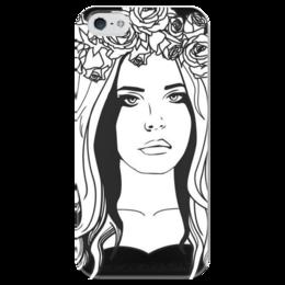 """Чехол для iPhone 5 глянцевый, с полной запечаткой """"Lana Del Rey"""" - black, черный, рисунок, лана, лана дель рей"""