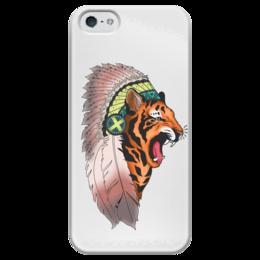 """Чехол для iPhone 5 глянцевый, с полной запечаткой """"Tiger"""" - tiger, тигр, вождь, chief"""