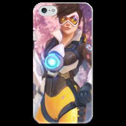 """Чехол для iPhone 5 глянцевый, с полной запечаткой """"Трейсер"""" - blizzard, близзард, overwatch, овервотч, tracer"""