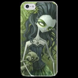 """Чехол для iPhone 5 глянцевый, с полной запечаткой """"Девушка с медведем (зомби)"""" - девушка, хэллоуин, zombie, зомби, мертвец"""