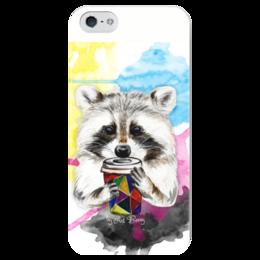 """Чехол для iPhone 5 глянцевый, с полной запечаткой """"Радужный енот"""" - животные, радуга, кофе, иллюстрации, енот, artberry"""