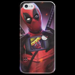"""Чехол для iPhone 5 глянцевый, с полной запечаткой """"Дэдпул (Deadpool)"""" - hello kitty, комиксы, deadpool, марвел, дэдпул"""