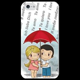 "Чехол для iPhone 5 глянцевый, с полной запечаткой ""я тебя люблю"" - love is, дождь, пара, зонтик, я тебя люблю"