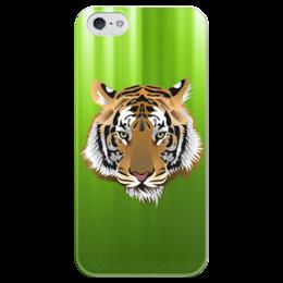 """Чехол для iPhone 5 глянцевый, с полной запечаткой """"Взгляд тигра"""" - рисунок, взгляд, тигр, джунгли"""