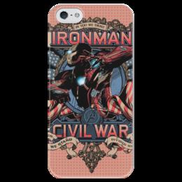 """Чехол для iPhone 5 глянцевый, с полной запечаткой """"Iron man"""" - комиксы, marvel, марвел, iron man, гражданская война"""