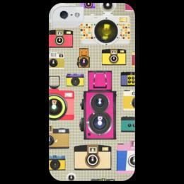 """Чехол для iPhone 5 глянцевый, с полной запечаткой """"Ретро фотокамеры"""" - ретро, фото, photo, фотоаппарат, camera, инстаграм"""