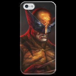 """Чехол для iPhone 5 глянцевый, с полной запечаткой """"Росомаха"""" - комиксы, росомаха, марвел, wolverine, логан"""