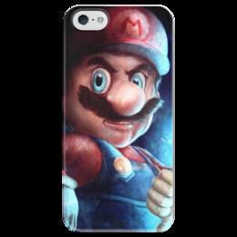 """Чехол для iPhone 5 глянцевый, с полной запечаткой """"Mario"""" - nintendo, марио, super mario, mario bros"""