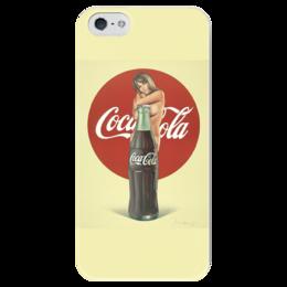 """Чехол для iPhone 5 глянцевый, с полной запечаткой """"Coca-Cola"""" - coca cola, реклама, пинап, кока кола"""