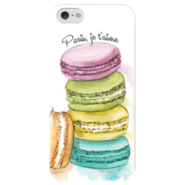 "Чехол для iPhone 5 глянцевый, с полной запечаткой ""Макаруны"" - арт, сладости, иллюстрация, париж, paris, sweets, макаруны, artberyy, macaroons"