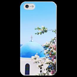 """Чехол для iPhone 5 глянцевый, с полной запечаткой """"Прекрасный пейзаж греческого острова Санторини!"""" - греция, осторова, greece, санторини, santorini"""