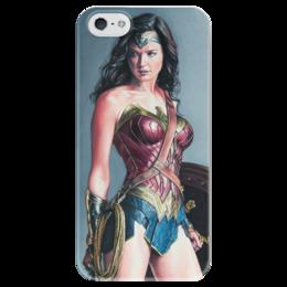 """Чехол для iPhone 5 глянцевый, с полной запечаткой """"Чудо женщина"""" - комиксы, batman, бэтмен, dc, чудо женщина"""