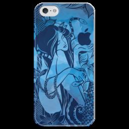 """Чехол для iPhone 5 глянцевый, с полной запечаткой """"Сад наслаждений"""" - девушка, графика, иллюстрация, яблоко, искушение"""