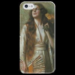"Чехол для iPhone 5 глянцевый, с полной запечаткой ""Frau im Kimono mit Fächer und Blumen"" - картина, нонненбрух"