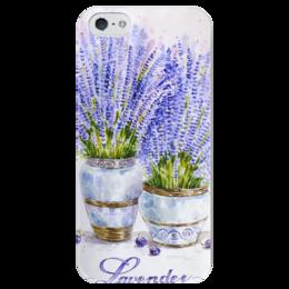 "Чехол для iPhone 5 глянцевый, с полной запечаткой ""Лаванда"" - цветы, рисунок, лаванда"