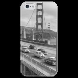 """Чехол для iPhone 5 глянцевый, с полной запечаткой """"Old School """" - классика, old school, сан-франциско, the golden gate bridge, золотые ворота, san francisco"""