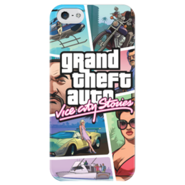 "Чехол для iPhone 5 глянцевый, с полной запечаткой ""Grand Theft Auto Vice City Stories"" - grand theft auto, gta, rockstar, vice city, gta vice city, гта, rockstar games, gta vc, grand theft auto vice city, grand theft auto vice city stories"
