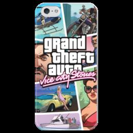"""Чехол для iPhone 5 глянцевый, с полной запечаткой """"Grand Theft Auto Vice City Stories"""" - grand theft auto, gta, rockstar, vice city, gta vice city, гта, rockstar games, gta vc, grand theft auto vice city, grand theft auto vice city stories"""