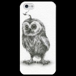 """Чехол для iPhone 5 глянцевый, с полной запечаткой """"Сова (графика)"""" - арт, рисунок, графика, сова, чёрно-белый, owl"""