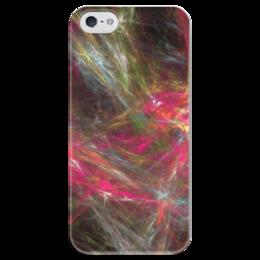 """Чехол для iPhone 5 глянцевый, с полной запечаткой """"Абстрактный дизайн"""" - графика, абстракция, линии, авангард, лучи"""