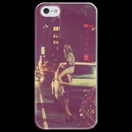 """Чехол для iPhone 5 глянцевый, с полной запечаткой """"Парочка"""" - любовь, ночь, пара"""