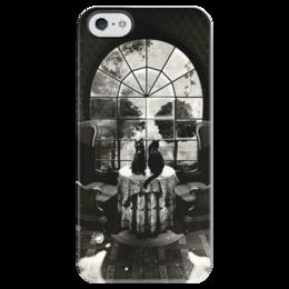 """Чехол для iPhone 5 глянцевый, с полной запечаткой """"skull house"""" - череп, готика, кот, дом, коты"""