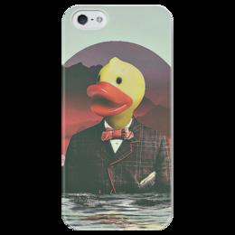 """Чехол для iPhone 5 глянцевый, с полной запечаткой """"rubber ducky"""" - duck, утка, ducky, mr duck"""