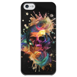 """Чехол для iPhone 5 глянцевый, с полной запечаткой """"Череп и розы"""" - череп, цветы, розы, roses, pastel goth"""