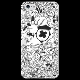"""Чехол для iPhone 5 глянцевый, с полной запечаткой """"Смешные монстры"""" - черно-белое, монстры, смешные монстры"""