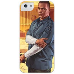"""Чехол для iPhone 5 глянцевый, с полной запечаткой """"Grand Theft Auto 5 (Франклин)"""" - арт, стиль, мужская, рисунок, прикольные, в подарок, девушке, парню, креативно, выделись из толпы"""