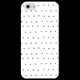 """Чехол для iPhone 5 глянцевый, с полной запечаткой """"Полька дот"""" - белый, черный"""