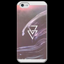"""Чехол для iPhone 5 глянцевый, с полной запечаткой """"Queerly 498"""" - стиль, узоры, транс, трекгольник"""