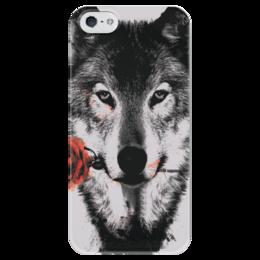 """Чехол для iPhone 5 глянцевый, с полной запечаткой """"Волк."""" - rose, волк, wolf, black n white"""