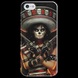 """Чехол для iPhone 5 глянцевый, с полной запечаткой """"Маска Смерти"""" - хэллоуин, кольт, маска смерти, сомбреро"""
