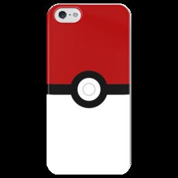 """Чехол для iPhone 5 глянцевый, с полной запечаткой """"Pokeball"""" - нинтендо, nintendo, pokemon go, покемон го, покеболл"""