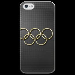"""Чехол для iPhone 5 глянцевый, с полной запечаткой """"олимпийские кольца"""" - олимпиада, в подарок, оригинально, сочи, сочи 2014, олимпийские кольца, sochi, olympics"""
