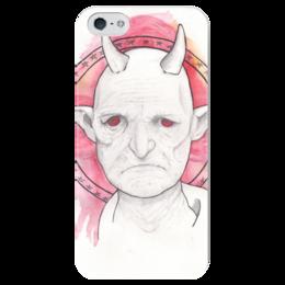 """Чехол для iPhone 5 глянцевый, с полной запечаткой """"WHITE DVL"""" - дьявол, цветы, красные глаза, розовый, белый"""