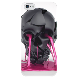 "Чехол для iPhone 5 глянцевый, с полной запечаткой ""Plastic skull"" - skull, череп, краска, paint"
