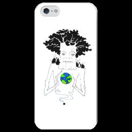 """Чехол для iPhone 5 глянцевый, с полной запечаткой """"ДеревоЗемли"""" - арт, дерево, планета, природа"""
