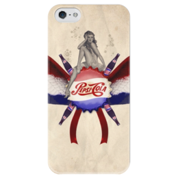 """Чехол для iPhone 5 глянцевый, с полной запечаткой """"Pepsi"""" - ретро, пинап, пепси, cola, pepsi"""
