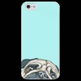 """Чехол для iPhone 5 глянцевый, с полной запечаткой """"мопс мопс мопс"""" - арт, pug, мопс"""