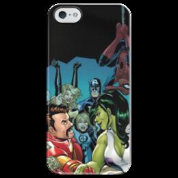 "Чехол для iPhone 5 глянцевый, с полной запечаткой """"Marvel"""" - арт, comics, superheroes, marvel universe"