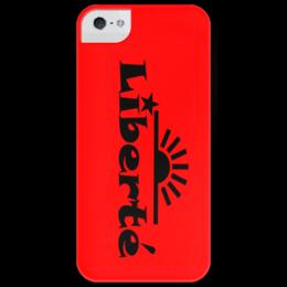 "Чехол для iPhone 5 глянцевый, с полной запечаткой ""Liberte"" - арт, революция, свобода, liberte"