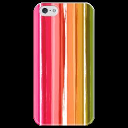 """Чехол для iPhone 5 глянцевый, с полной запечаткой """"Радуга"""" - узор, радуга, рисунок, полосатый, красочный"""