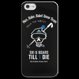 "Чехол для iPhone 5 глянцевый, с полной запечаткой ""Ski & Snowboard"" - сноуборд, snowboard, ski, heybabybaby"