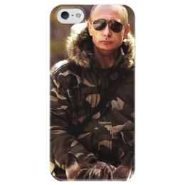 """Чехол для iPhone 5 глянцевый, с полной запечаткой """"Владимир Владимирович Путин II"""" - россия, путин, президент, ввп, лидер, putin"""