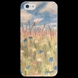 """Чехол для iPhone 5 глянцевый, с полной запечаткой """"ПОЛЕВЫЕ ЦВЕТЫ"""" - арт, лето, пастель, полевые цветы"""