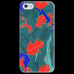 """Чехол для iPhone 5 глянцевый, с полной запечаткой """"Древесные лягушки"""" - яркий, лягушки, динозавры, ящерицы, цветочный паттерн"""